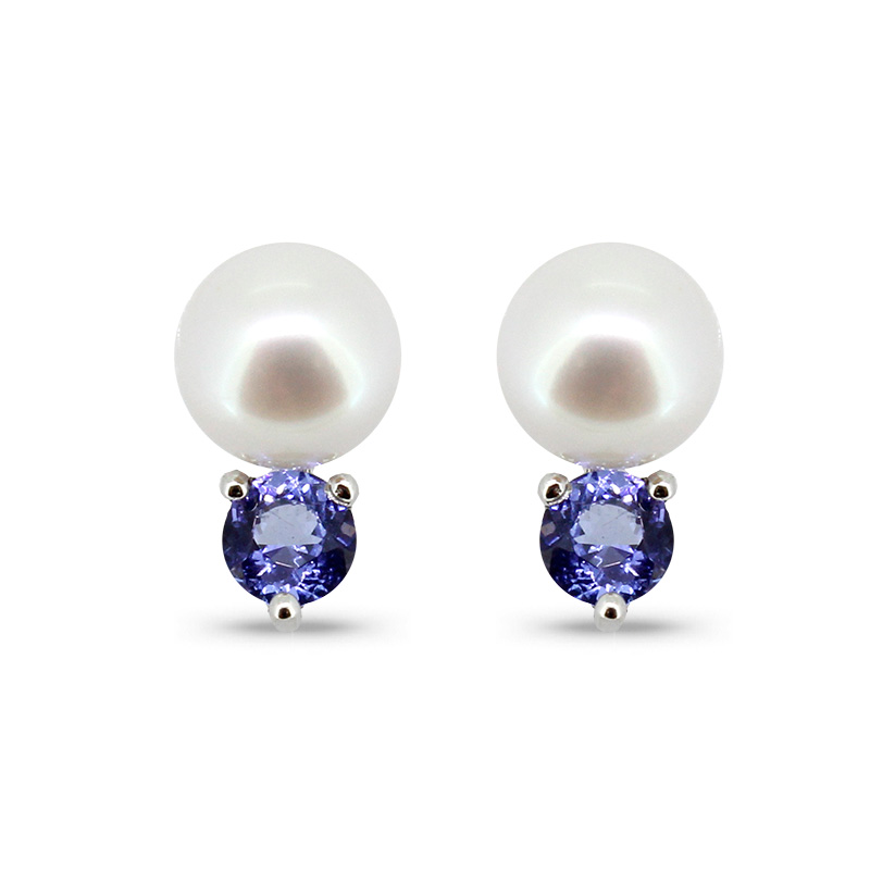 Pearl Tanzanite: Pearl And Tanzanite Earrings